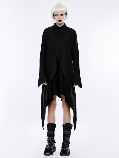 Punk Rave Black Gothic Long Sleeves Shirt Dress