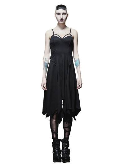 Punk Rave Black Gothic Punk Sexy Asymmetric Braces Dress