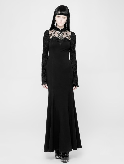Punk Rave Black Romantic Gothic Lace Knitted Long Dress