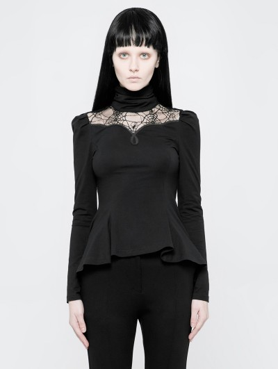 Punk Rave Black Gothic Daily Spider Web Long Sleeve T-Shirt for Women