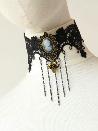 Handmade Black Lace Chain Gothic Victorian Necklace