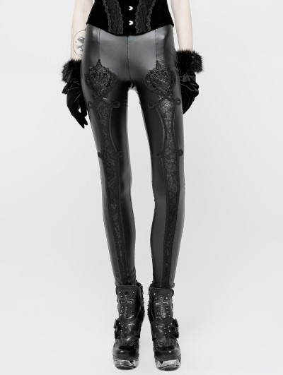 Punk Rave Black Gothic PU Love Floral Leggings for Women
