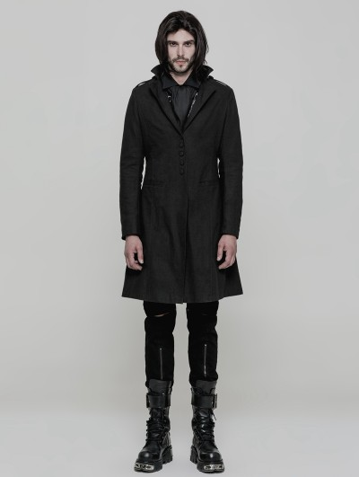 Punk Rave Black Gothic Simple Gothic Coat for Men