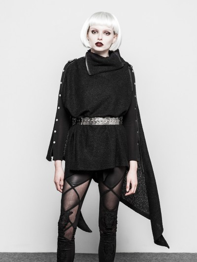 Punk Rave Black Gothic Asymmetrica Zipper Cloak Coat for Women