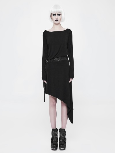 Punk Rave Black Gothic Punk Daily Belt Asymmetrica Dress