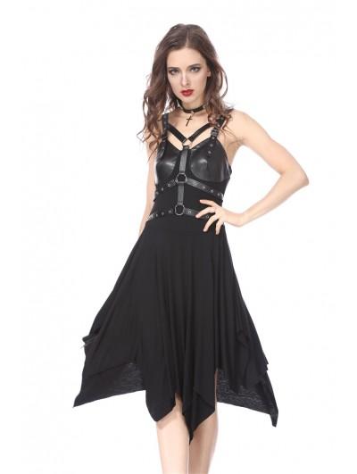 Dark in Love Black Gothic Punk Hoop Harness Dress