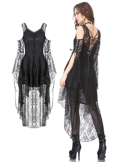 Dark in Love Black Gothic Elegant Lace High-Low Dress