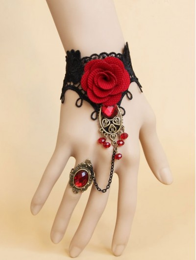 Handmade Black Lace Red Flower Pendant Gothic Bracelet Ring Jewelry