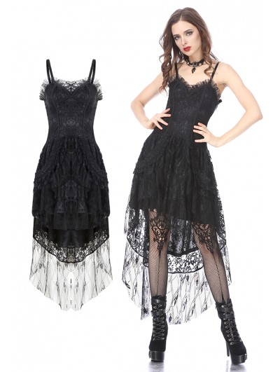 Dark in Love Black Gothic Lolita Lace High-Low Dress