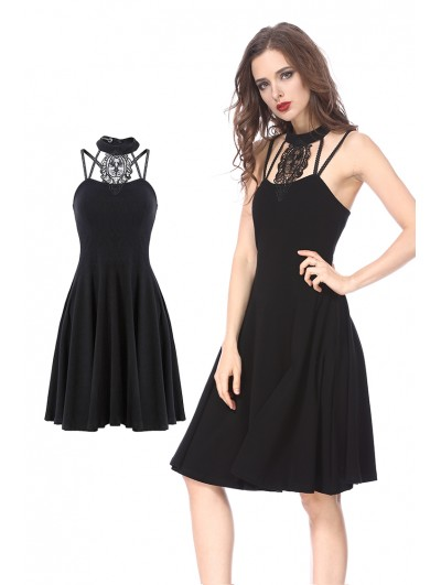Dark in Love Black Gothic Dress with Star Back