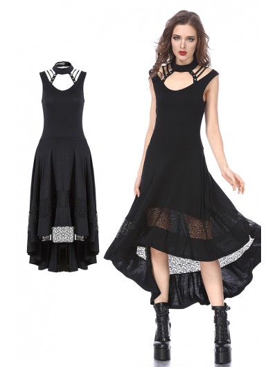 Dark in Love Black Gothic Punk Knitted Sleeveless Dress