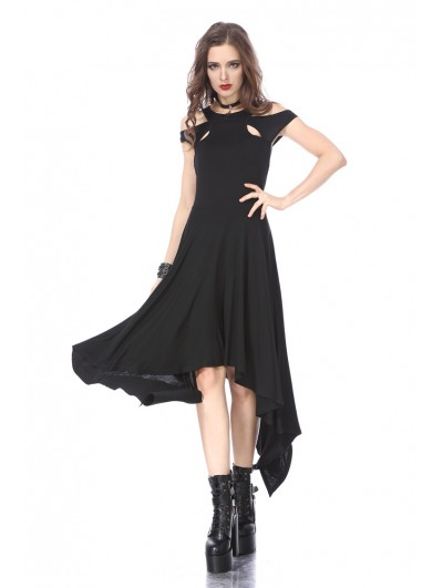 Dark in Love Black Gothic Knitted Off-Shoulder Irregular Dress