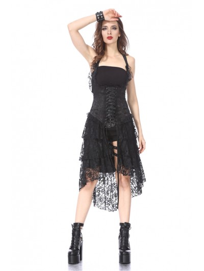 Dark in Love Black Halter Gothic Lace Corset Dress
