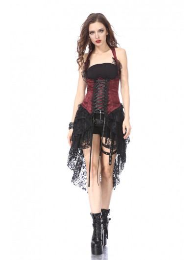 Dark in Love Black and Red Halter Gothic Lace Corset Dress