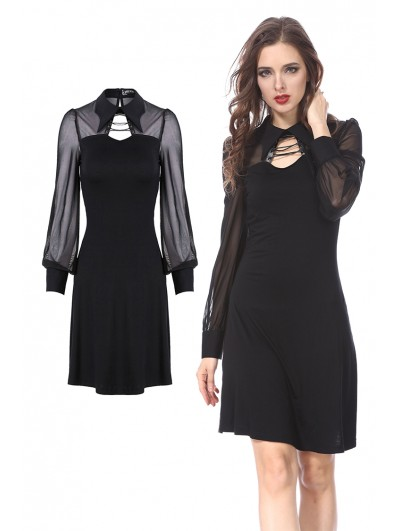 Dark in Love Black Gothic Long Sleeves Short Dress