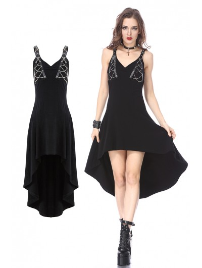 Dark in Love Black Gothic Punk Dress with Silver Chain Design