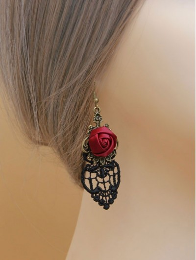 Handmade Black Lace Red Flower Gothic Earrings