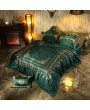 Gorgeous Green Vintage Crown Embroidery Comforter Set