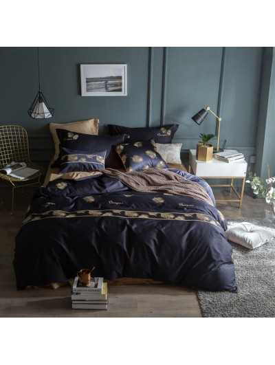Blue Feather Pattern Comforter Set
