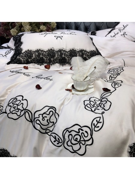 White Floral Embroidery Lace Comforter Set   DarkinCloset.com