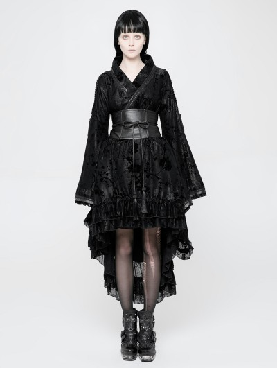 Punk Rave Black Gothic Lolita Flocking Printing Kimono Dress