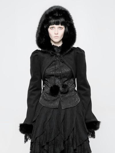 Punk Rave Black Gothic Lolita Short Hooded Coat for Women
