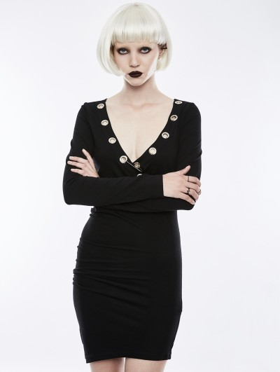 Punk Rave Black Gothic Sexy Punk Short Dress