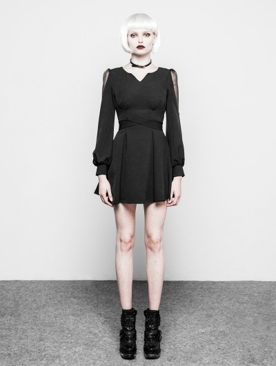 Punk Rave Black Gothic V-Collar Long Sleeves Short Dress