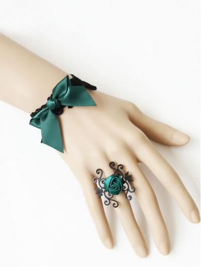 Handmade Green Bow Flower Gothic Bracelet Ring Jewelry