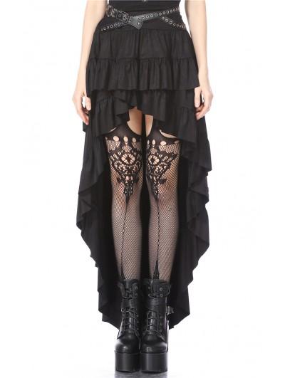 Dark in Love Black Gothic Punk Rivet Belt High-Low Skirt