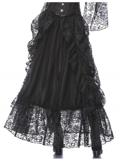 Dark in Love Black Gothic Eleglant Lace Long Skirt