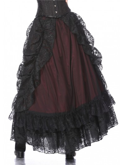 Dark in Love Black and Red Gothic Eleglant Lace Long Skirt