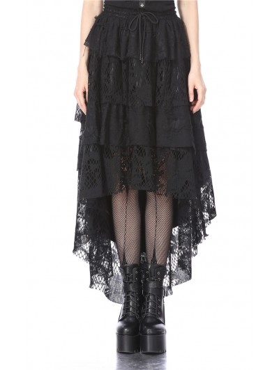 Dark in Love Black Gothic Punk Layers Lace High-Low Skirt