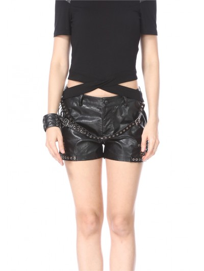Dark in Love Black Gothic Punk PU Leather Shorts for Women