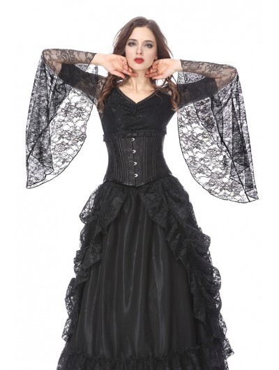 Dark in Love Black Gothic Lace Trumpet Sleeves T-Shirt for Women