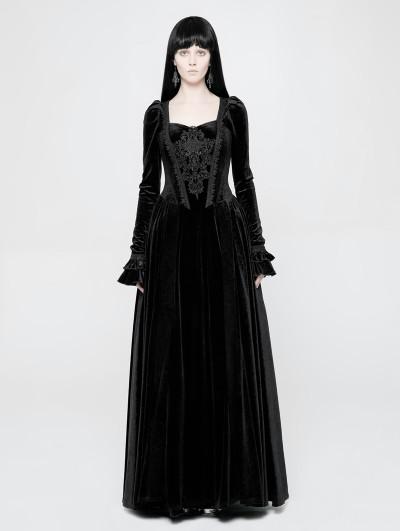 Punk Rave Black Velvet Gothic Victorian Long Sleeve Dress