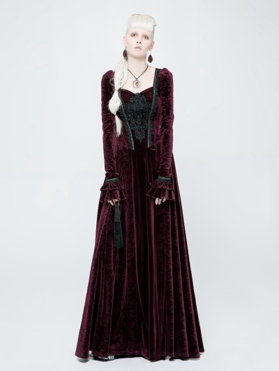Punk Rave Red Velvet Gothic Victorian Long Sleeve Dress