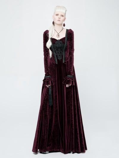 Punk Rave Red Velvet Gothic Victorian Long Sleeve Dress