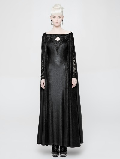 Punk Rave Dark Queen Gothic Long Dress with Cape
