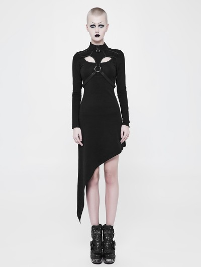 Punk Rave Black Gothic Punk Asymmetric Knit Dress