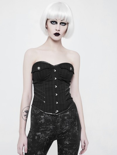 Punk Rave Black Gothic Military Uniform Striped Corset