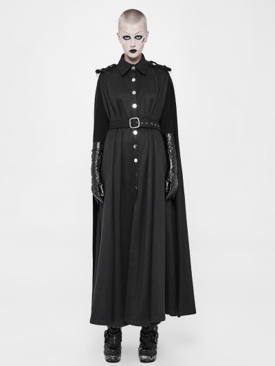 Punk Rave Black Gothic Two Wear Long Military Uniform Cloak for Women