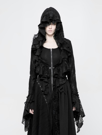 Punk Rave Black Gothic Decadent Short Coat for Women