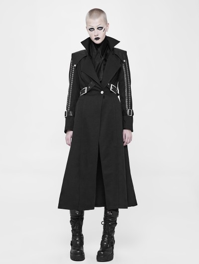 Punk Rave Black Gothic Punk Handsome Long Coat for Women