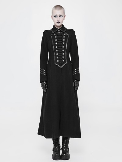 Punk Rave Black Gothic Uniform Retro Woolen Jacket for Women