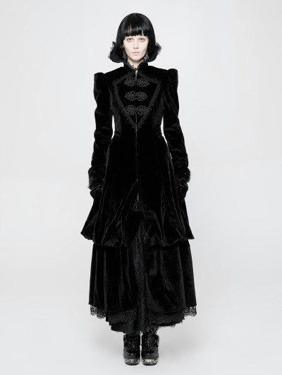 Punk Rave Black Gothic Gorgeous Court Retro Coat for Women