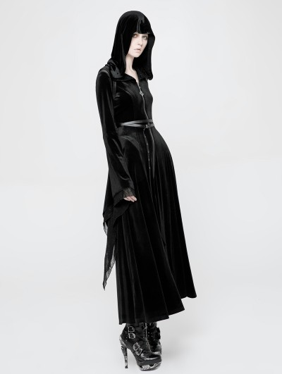 Punk Rave Black Gothic Witchy Velvet Long Hooded Coat for Women