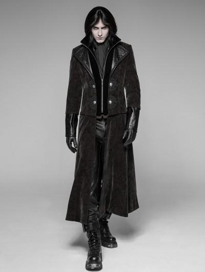 Punk Rave Brown Gothic Detachable Gentleman Style Punk Jacket for Men