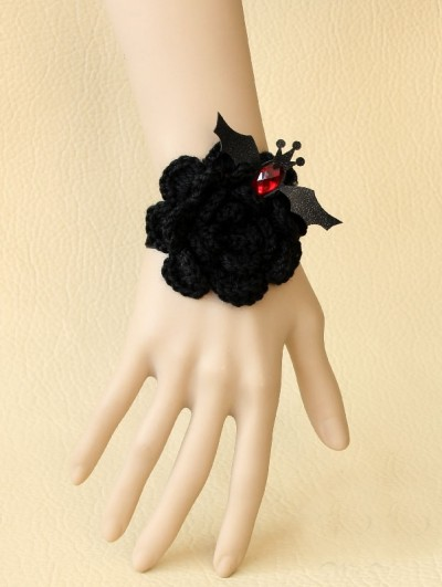 Handmade Black Yarn Flower Gothic Bracelet with Bat Accents