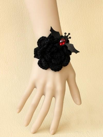Handmade Black Yarn Flower Gothic Bracelet with Bat Accents